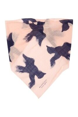 Burberry Knit Bandanna Color APRICOT PINK  with birds Size os, neck scarf
