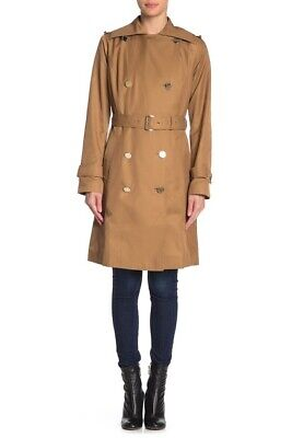 Michael Kors Notch Lapel TRENCH Coat DARK CAMEL TAN BROWN double breasted size (Michael Michael Kors Double Breasted Trench Coat)
