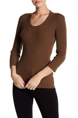3/4 Sleeve Wool Pullover (WOLFORD CAPRICE 77% wool MERINO RIB 3/4 sleeve PULLOVER in BISON brown M / L)