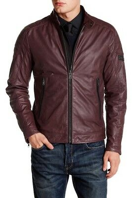 $598 Diesel L-MONIKE Jacket in Wine Size XL SLIM 100% Cowhide Leather