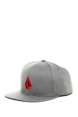 Volcom Stone Flat Bill Snapback Cap (Charcoal/Heather) OSFA Adjustable Hat - NEW