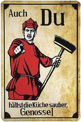 Auch du hältst die Küche sauber, Genosse Blechschild 20x30 cm Metallschild 334 (Saubere Küche)