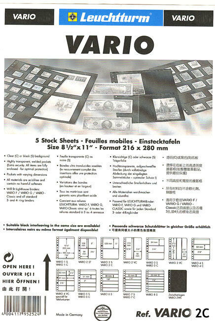 25 NEW Lighthouse VARIO 2C stock pages (clear sheets) - Free shipping