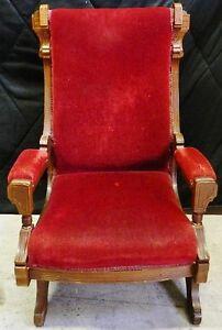 Antique-Platform-Rocking-Chair-Mahogany-Wood