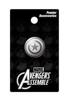 Marvel Comics Captain America Shield Logo Metal Pewter Lapel Pin, NEW UNUSED