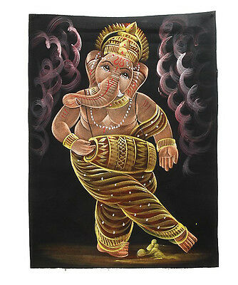 Batik Fabric Painted Ganesh Elephant 70x52cm Handmade 01