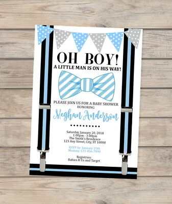 Bow Tie Little Man Baby Shower Invitation Blue Bowtie Invite For Baby Boy Shower](Little Man Invitations Baby Shower)