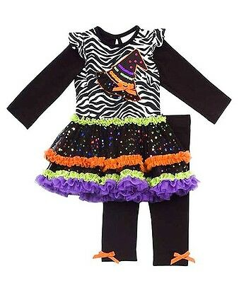 Rare Editions Girls 2T Halloween Witch Tutu Dress Legging Outfit Clothes Set - Halloween Witches Outfits