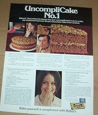 1972 print ad page - Baker's Coconut German chocolate cake recipe advertising