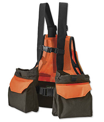 Orvis Upland Bird Waxed Cotton Strap Hunting Vest Blaze Orange Safety Med/Lg NWT