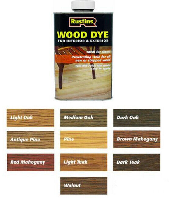 Rustins Wood Dye Quick Drying Non Fading And Non Bleeding All Colours Sizes