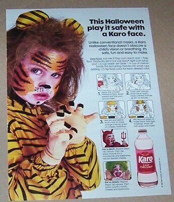1987 print ad page -Karo syrup Halloween little girl tiger costume face paint AD