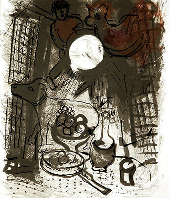 Marc Chagall - Jacques Lassaigne - Brown Still Life M.205)- Original Lithograph
