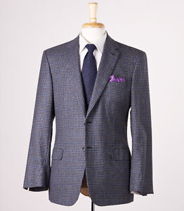 NWT $4995 BRIONI Charcoal-Blue Check Cashmere-Wool-Silk Sport Coat 46 L Trim-Fit