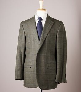 New $2795 OXXFORD Type-A Green Check Wool-Cashmere Sport Coat 42 R Dual Vents