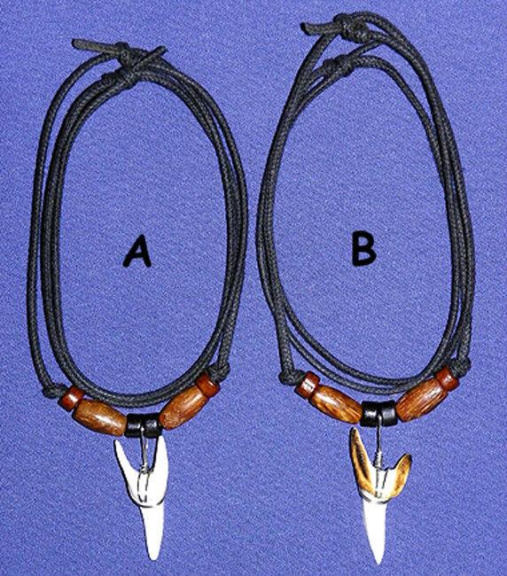 Genuine Mako Shark Tooth Pendant Adjustable Cords Surfer Necklace Jewelry  EA200