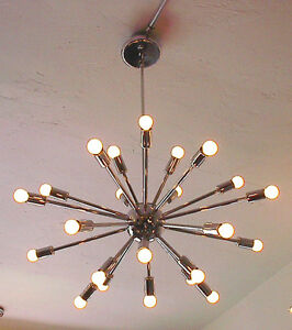 SPUTNIK-STARBURST-LIGHT-FIXTURE-CHANDELIER-LAMP-CHROME-24-24-ARM-W-BULBS