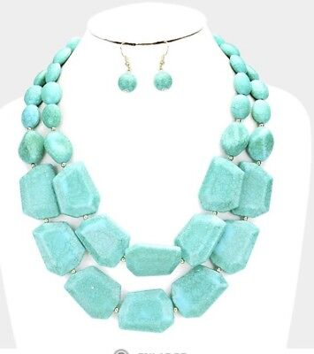 Fake Turquoise Blue Multi Layered Costume Bead Chunky Necklace Earrings Set Chunky Bead Necklace Earrings