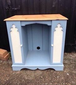 solid pine church gothic tv table cabinet cd rack media station