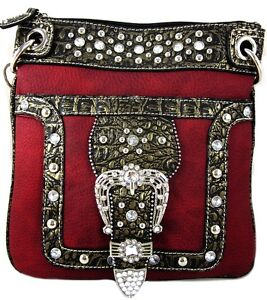 Western Cowgirl Rhinestone Belt Crossbody Messenger Bag Purse 8 Color Options