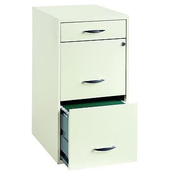 3 Drawer Metal File Cabinet White Home Storage Lock Records Filing Papers Office