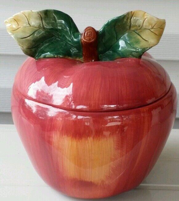 SAKURA ~ SONOMA ~ APPLE COOKIE JAR ~ w/Salt & Pepper Shakers ~ Hand Painted