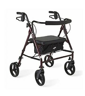 Heavy Duty Walker Extra Wide Seat 500 lb. Capacity 4 Wheels Brakes Storage Bag