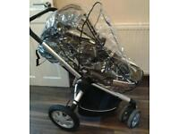 Quinny three-wheeler pram complete with rain cover and bag