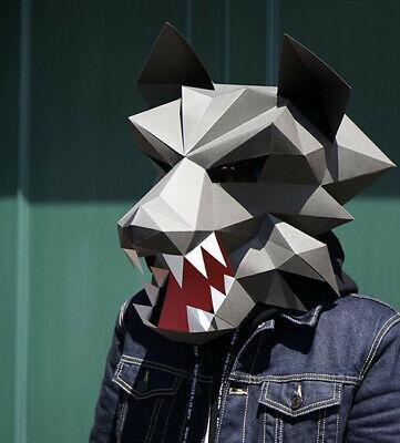Halloween Wolf Man Werewolf DIY Paper Card Craft Head Mask Cosplay Costume Prop](Werewolf Costume Diy)