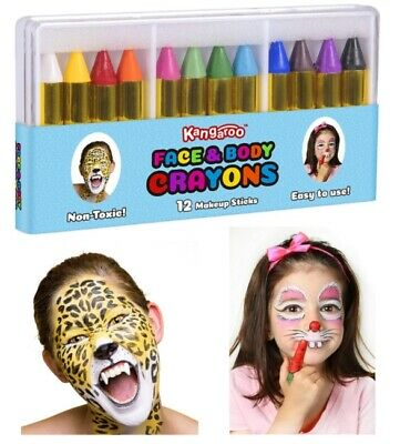 Halloween Face Paint Set (Kids Safe Face Paint Set Body Painting Crayons Make Up Kit Palette)