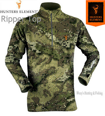Hunters Element RIPPER Mens240gm fleece l/s Veil camo longer Zip shirt
