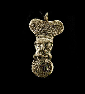 Pendant Mask Ashanti Tribale Art African Figure Brass B