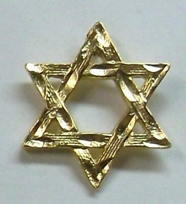Jewish Star of David Lapel or Hat Pin in Gold Plate Made in USA by OSC (Star Lapel Pin)