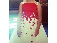 2 beautiful red and white flowergirl he 8 and 1 dresses