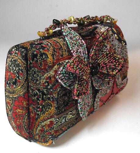 Elegant beaded evening bag clutch vintage look tapestry purse detailed handbag
