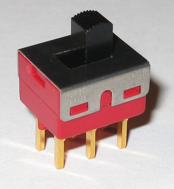 C&K 1201 DPDT Miniature Slide Switch - 20 V AC / DC - PC Board Mount - 0.4 VA