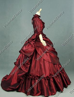 Victorian Queen Bustle Masquerade Ball Gown Fancy Dress Theater Clothing 330 L
