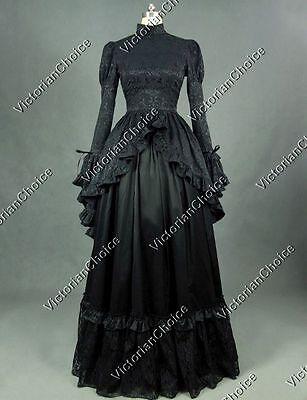 Gothic Victorian Black Dress Steampunk Witch Vampire Halloween Costume N 324 L
