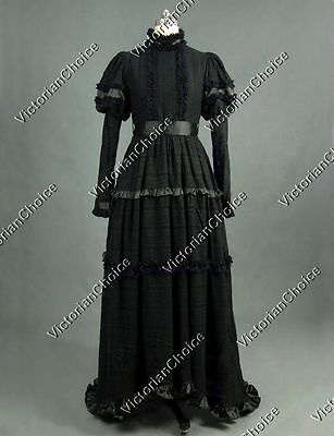 Victorian Ghost High Collar Steampunk Lace Overlay Dress Halloween Costume N 353