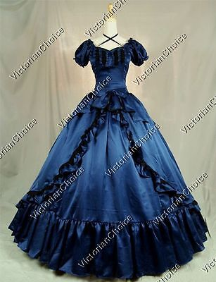 Victorian Gothic Southern Belle Scarlett O'Hara Ball Gown Dress Theater NAVY 206](Southern Belle Dress)