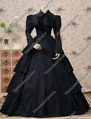 Victorian Civil War Gothic Black Maid Dress Steampunk Theatrical Costume 007 M