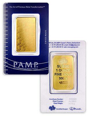 Daily Deal! PAMP Suisse 1 Oz Gold Bar New Design - Sealed w/Assay Cert SKU32617