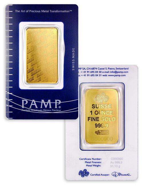 PAMP Suisse 1 Troy Oz .9999 Gold Bar - New Design - Sealed w/Assay Cert SKU32617