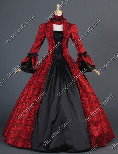 Victorian Red Christmas Holiday Dress Steampunk Georgian Theater Ball Gown 138