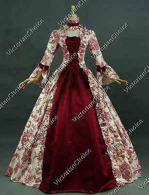 Satin Victorian Dress (Victorian Renaissance Antique Floral Prom Dress Ball Gown Reenactment Gothic)