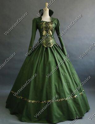 Victorian Fairytale Renaissance Fair Brocade Ball Gown Dress Theater Costume 111 - Ball Gown Costumes