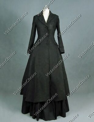 Victorian Gothic Steampunk Black Coat Dress Women Witch Halloween Costume C002 M