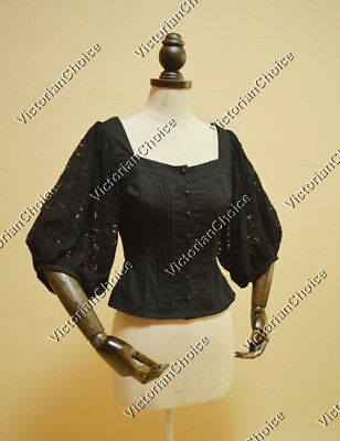 Victorian Steampunk Feminine Equestrian Lace Riding Blouse Shirt Clothing B026