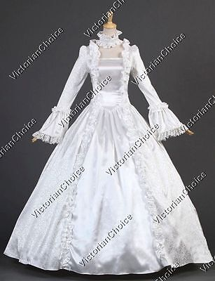 White Renaissance Vintage Wedding Dress Ghost Bride Gown Halloween Costume N 119