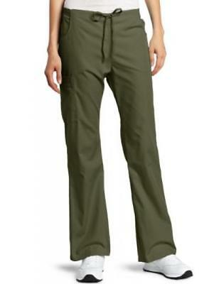 Womens Missy Every Day Scrubs Back Elastic Flare Leg Pant Dark Olive (Everyday Ladies Flare Scrub Pant)